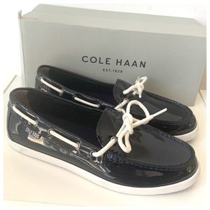 NIB Women's Cole Haan Patent Leather Boat Shoes